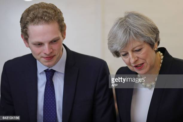 British Prime Minister Theresa May and Stoke Central byelection candidate Jack Brereton visit the Emma Bridgewater pottery factory in Hanley in...