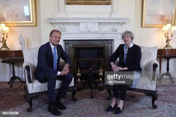 British Prime Minister Theresa May and The President of the European Council Donald Tusk meet inside 10 Downing Street on April 6 2017 in London...