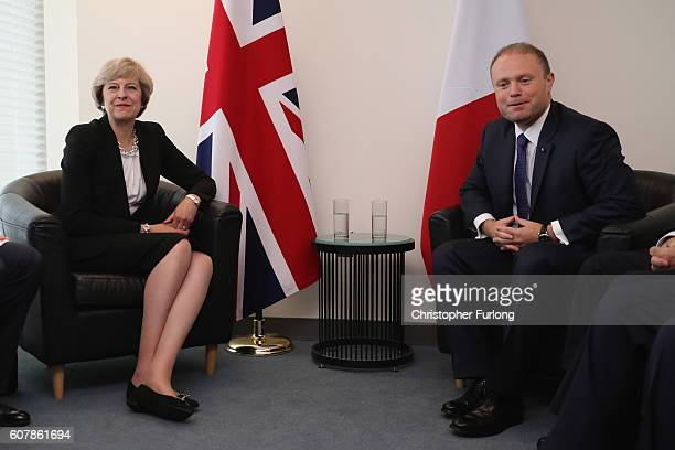 British Prime Minister Theresa May and the Prime Minister of Malta Joseph Muscat talk at the beginning of a bilateral meeting at the United Nations...