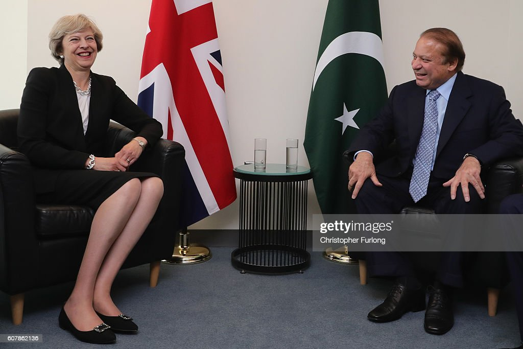 British Prime Minister Theresa May and the Prime Minister of Pakistan, Nawaz Sharif talk during a bi-lateral meeting at the United Nations Buildng on September 19, 2016 in New York City. World leaders have arrived in New York for the 71st session of the UN General Assembly. The annual gathering is an opportunity for a number of high-level meetings, sideline bilaterals and think tank addresses concerning global issues.