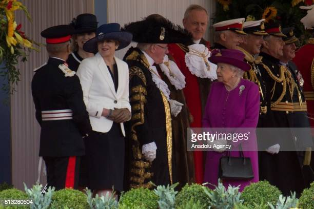 British Prime Minister Theresa May and The Queen Elizabeth II attend a state ceremony which was held for Spain's King Felipe VI and Queen Letizia's...