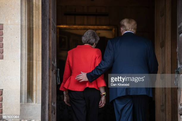British Prime Minister Theresa May and US President Donald Trump are seen at Chequers on July 13 2018 in Aylesbury England US President Donald Trump...