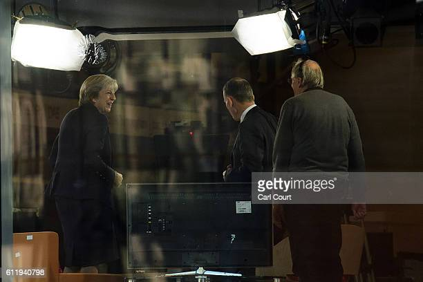 British Prime Minister Theresa May appears on The Andrew Marr Show on October 2 2016 in Birmingham England Mrs May appeared on the show ahead of the...