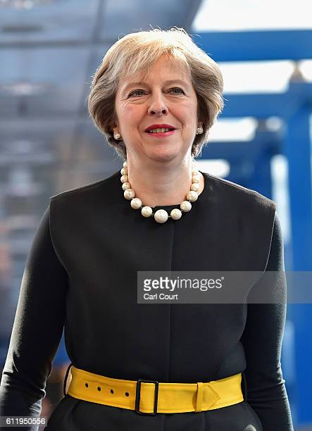 British Prime Minister Theresa May arrives ahead of delivering a speech to delegates and party members about Brexit on the first day of the...