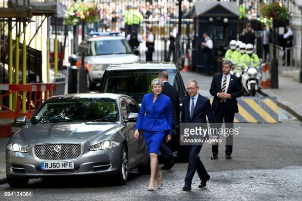 British Prime Minister Theresa May arrives at 10 Downing Street after returning from Buckingham Palace in London United Kingdom on June 9 2017 After...