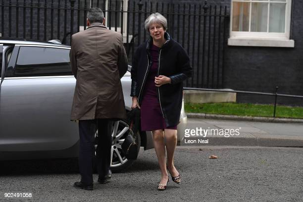 British Prime Minister Theresa May arrives at 10 Downing Street ahead of an expected cabinet reshuffle on January 8 2018 in London England Today's...