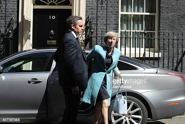 British Prime Minister Theresa May arrives at 10 Downing Street to appoint her cabinet on July 14 2016 in London England Former Home Secretary...
