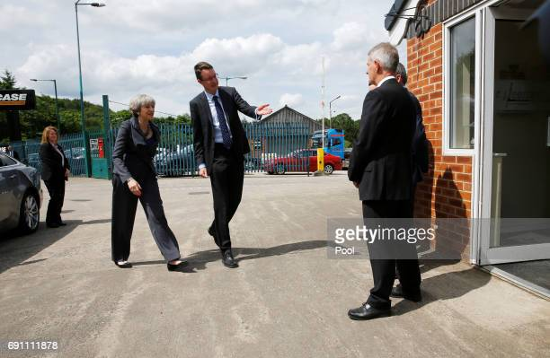 British Prime Minister Theresa May arrives at Conservative party election campaign event at CJ Leonard and Sons on June 1 2017 in Guisborough England...