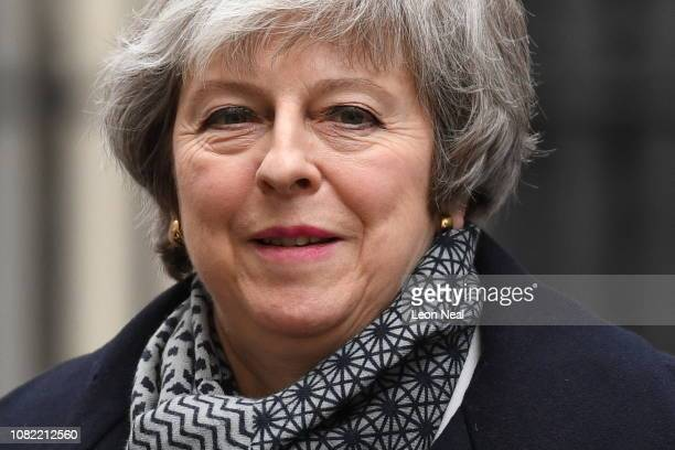 British Prime Minister Theresa May arrives at Downing Street on January 14 2019 in London England