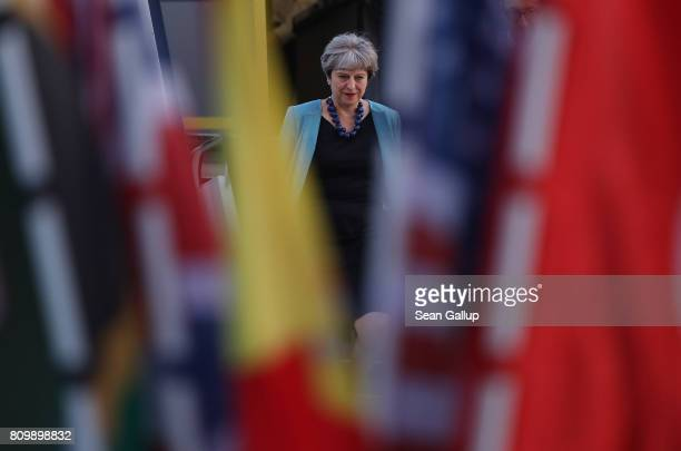 British Prime Minister Theresa May arrives at Hamburg Airport for the Hamburg G20 economic summit on July 6 2017 in Hamburg Germany Leaders of the...