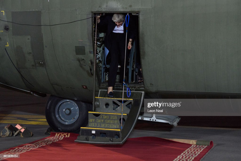 British Prime Minister Theresa May arrives at King Abdul Aziz airport on November 29, 2017 in Riyadh, Saudi Arabia. Theresa May has also made a surprise visit to Iraq during her planned visit to the Middle East.