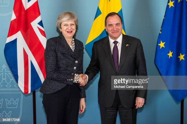 British prime minister Theresa May arrives at Rosenband for a meeting with Swedish prime minister Stefan Lofven on April 9 2018 in Stockholm Sweden