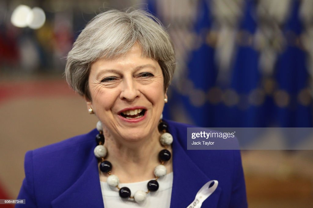 British Prime Minister, Theresa May arrives at the Council of the European Union for the first day of the European Council leaders' summit at the Europa building on March 22, 2018 in Brussels, Belgium. European Union leaders meet today for the two-day European Council. The agenda will include discussion on the recent nerve agent attack in Salisbury, which the UK hold the Russian state responsible, and US President Donald Trump's announcement on tariffs for steel and aluminium imports. The proposed Brexit transition deal between the European Union and the United Kingdom is also expected to be approved.