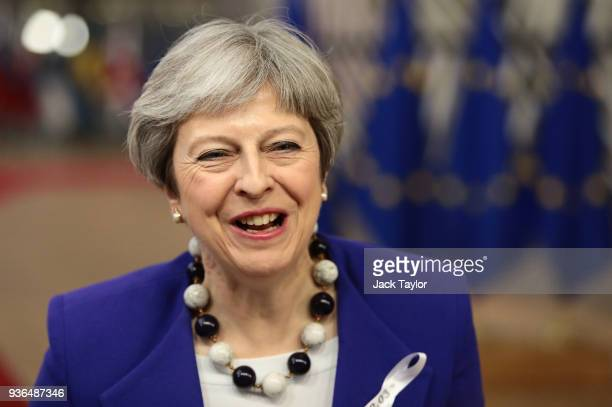 British Prime Minister, Theresa May arrives at the Council of the European Union for the first day of the European Council leaders' summit at the...