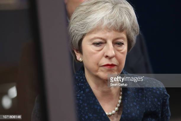 British Prime Minister Theresa May arrives at the European Council to meet with European Council President Donald Tusk the day before a summit of the...