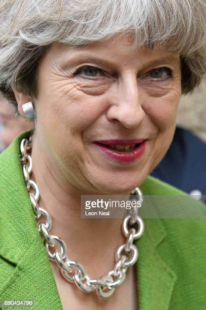 British Prime Minister Theresa May arrives at the Royal Bath and West Show on May 31 2017 in Shepton Mallet United Kingdom Britain goes to the polls...