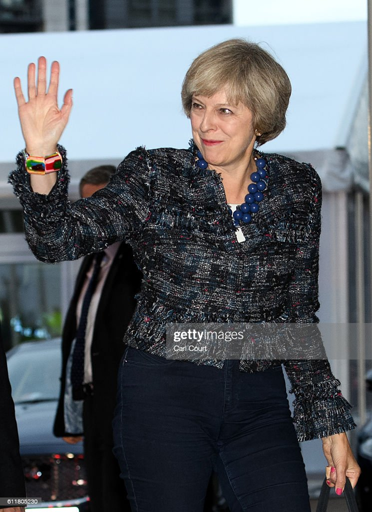 British Prime Minister Theresa May arrives at their hotel for the 2016 Conservative Party Conference, on October 1, 2016 in Birmingham, England. Conservative Party members begin gathering today ahead of the four day conference which will begin tomorrow.