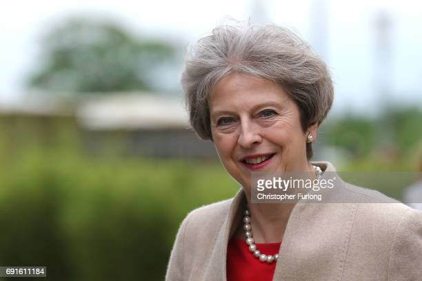 British Prime Minister Theresa May arrives at York University's Heslington Campus to appear on the BBC's Question Time programme on June 2 2017 in...