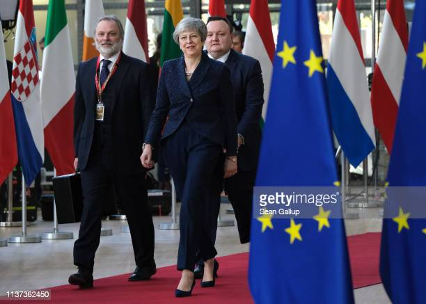 British Prime Minister Theresa May arrives for a twoday summit of European Union leaders on March 21 2019 in Brussels Belgium Leaders will discuss...