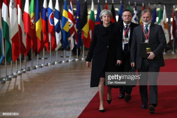 British Prime Minister Theresa May arrives for the European Union leaders summit at the European Council on December 14 2017 in Brussels Belgium The...