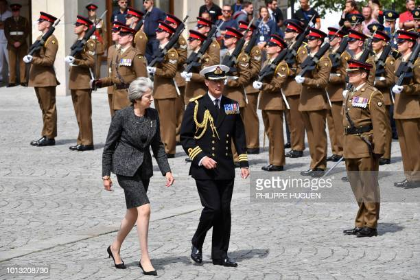 British Prime Minister Theresa May arrives in Amiens northern France on August 8 to attend a ceremony to mark the 100th anniversary of the World War...