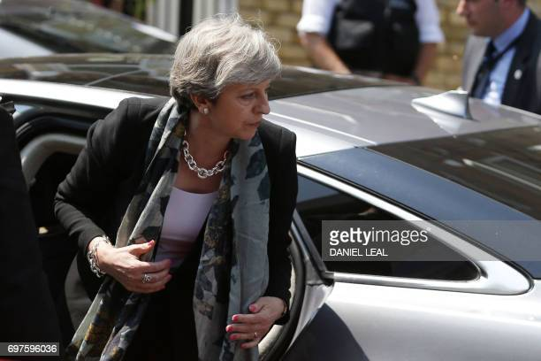 British Prime minister Theresa May arrives in the Finsbury Park area of north London to visit the scene where a vehicle was driven into pedestrians...