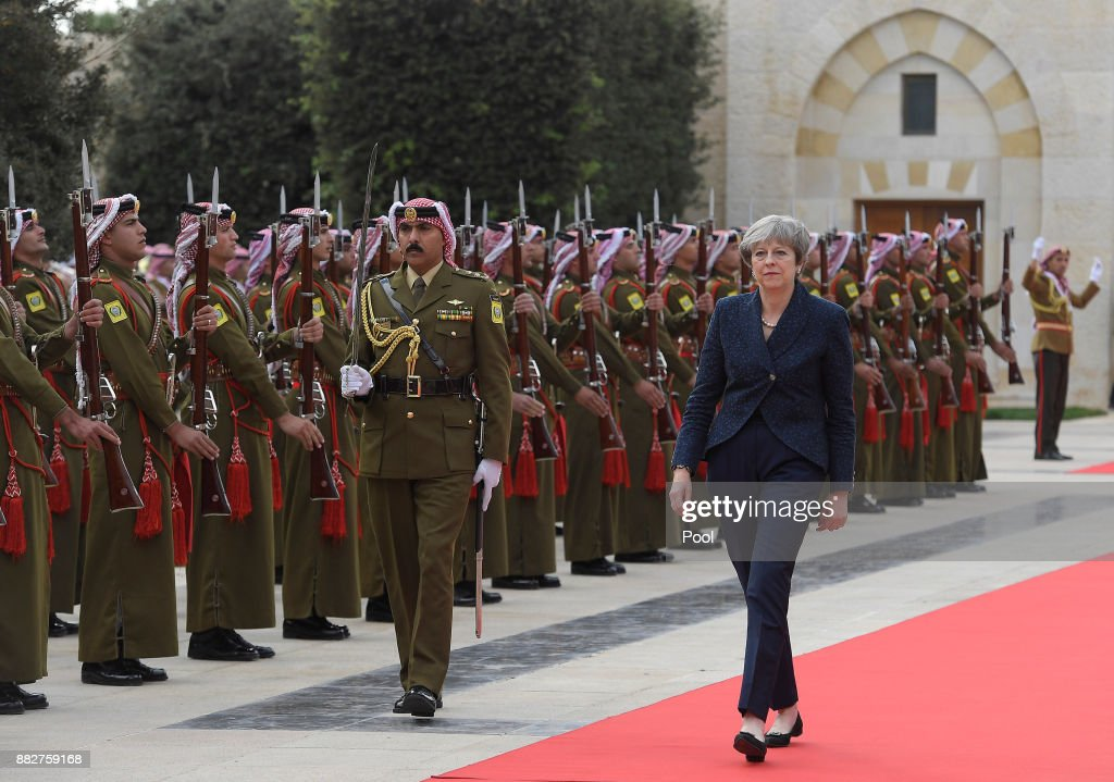 British Prime Minister Theresa May arrives to attend a bilateral meeting with King Abdullah II of Jordan at the Royal Palace on November 30, 2017 in Amman, Jordan. Theresa May has visited Iraq, Saudi Arabia and Jordan during her diplomatic tour of the region.