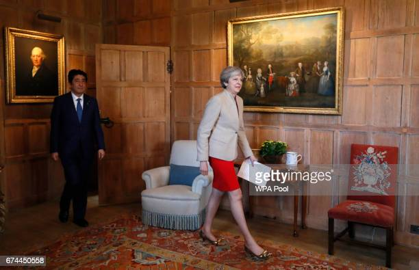British Prime Minister Theresa May arrives to deliver a statement with Prime Minister Shinzo Abe of Japan at Chequers on April 28 2017 near Aylesbury...