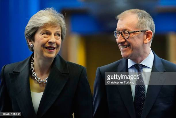 British Prime Minister Theresa May arrives with her husband Philip May ahead of her speech on the final day of the Conservative Party Conference at...