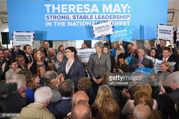 British Prime Minister Theresa May at an election campaign rally with Scottish Conservative Leader Ruth Davidson on April 29 2017 in Banchory...