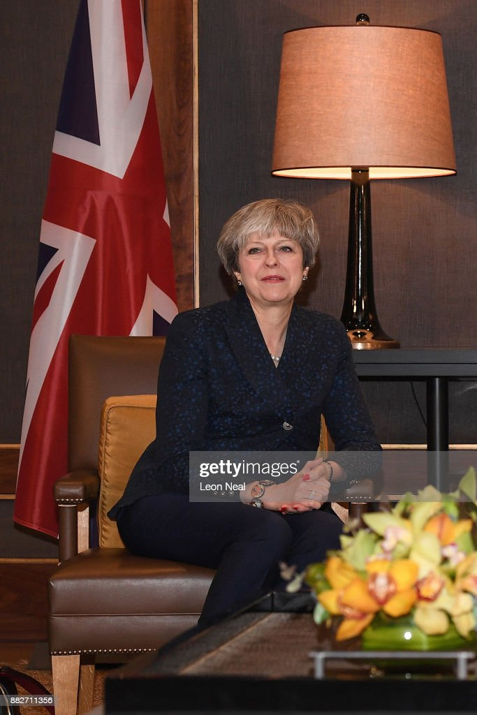 British Prime Minister Theresa May attends a bilateral meeting with King Abdullah II of Jordan (not pictured) at the Royal Palace on November 30, 2017 in Amman, Jordan. Theresa May has visited Iraq, Saudi Arabia and Jordan during her diplomatic tour of the region.