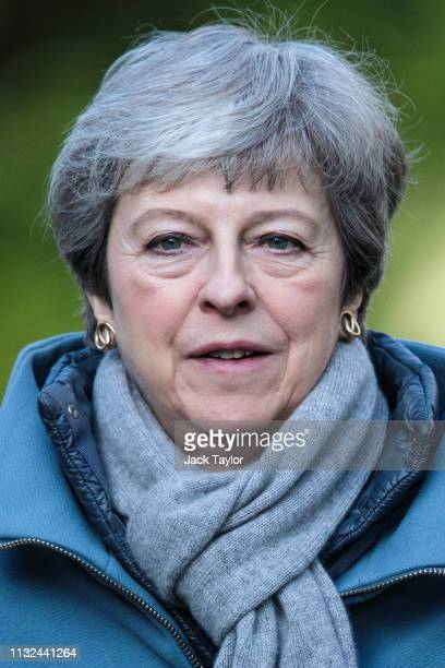 British Prime Minister Theresa May attends a church service on March 24 2019 in Aylesbury England Mrs May is reportedly facing pressure from within...