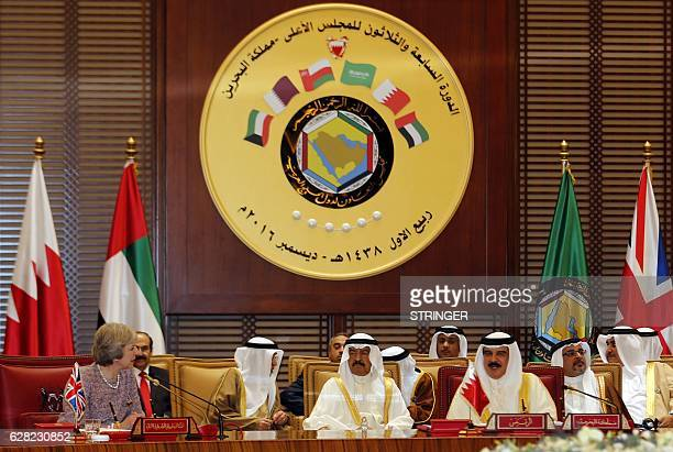 British Prime Minister Theresa May attends a Gulf Cooperation Council summit on December 7 in the Bahraini capital Manama / AFP / STRINGER