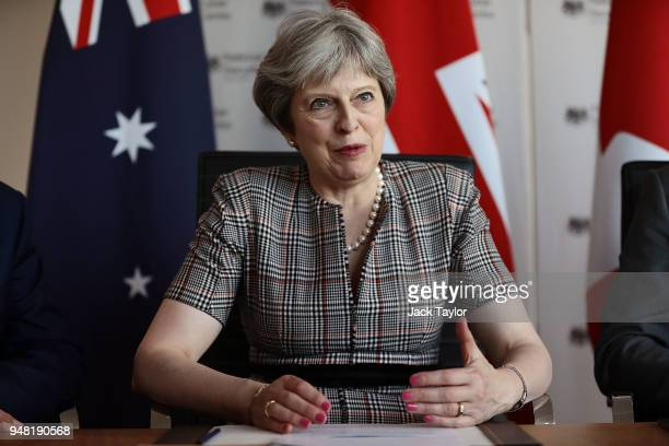 British Prime Minister Theresa May attends a meeting at the National Cyber Security Centre on April 18 2018 in London England