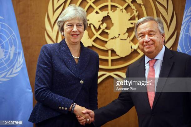 British Prime Minister Theresa May attends a meeting with Ant—nio Guterres the SecretaryGeneral of the United Nations during the 73rd United Nations...