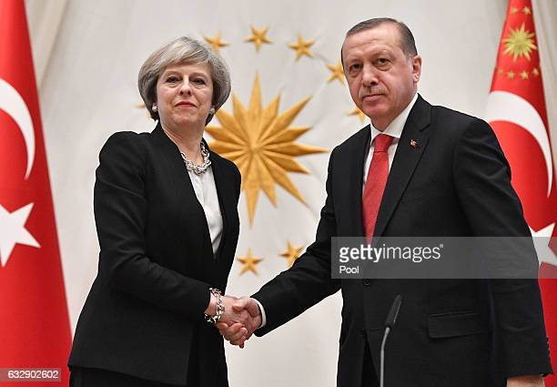 British Prime Minister Theresa May attends a meeting with President Recep Tayyip Erdogan at the Presidential Palace on January 28 2017 in Ankara...