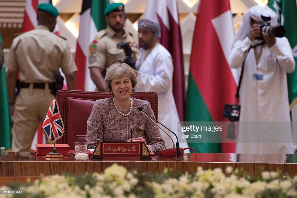 British Prime Minister, Theresa May, attends a plenary session on the second day of the Gulf Cooperation Council summit, on December 7, 2016 in Manama, Bahrain. Prime Minister May is meeting Gulf leaders during the annual two-day Gulf Cooperation Council where she has discussed regional issues including the situations in Yemen and Syria and the perceived regional threat posed by Iran.
