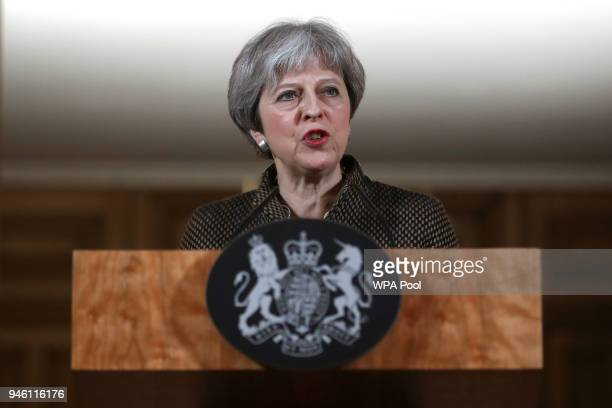 British Prime Minister Theresa May attends a press conference at 10 Downing Street on April 14 2018 in London England Early this morning the RAF...