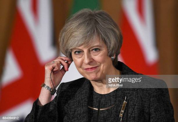 British Prime Minister Theresa May attends a press conference with Italian Prime Minister Paolo Gentiloni at No10 Downing street London United...