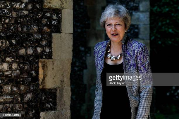British Prime Minister Theresa May attends her local church service on Easter Sunday on April 21 2019 in Sonning England