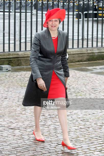 British Prime Minister Theresa May attends the 2018 Commonwealth Day service at Westminster Abbey on March 12 2018 in London England