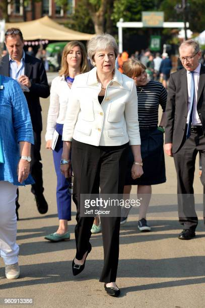 British Prime Minister Theresa May attends the Chelsea Flower Show 2018 on May 21 2018 in London England