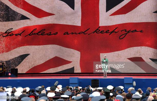 British Prime Minister Theresa May attends the DDay75 National Commemorative Event to mark the 75th Anniversary of the DDay Landings at Southsea...