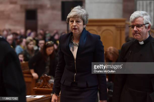 British Prime Minister Theresa May attends the funeral service of journalist Lyra McKee at St Anne's Cathedral on April 24 2019 in Belfast Northern...