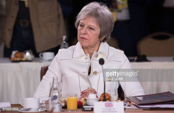 British Prime Minister Theresa May attends the Gender Equality Advisory Council Breakfast during the G7 Summit in La Malbaie Quebec Canada June 9 2018