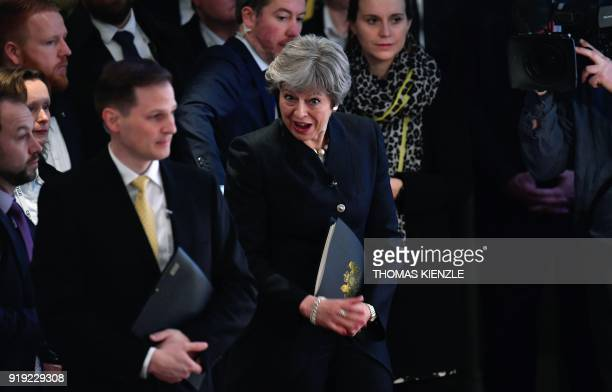 British Prime Minister Theresa May attends the Munich Security Conference on February 17 2018 in Munich southern Germany Global security chiefs and...