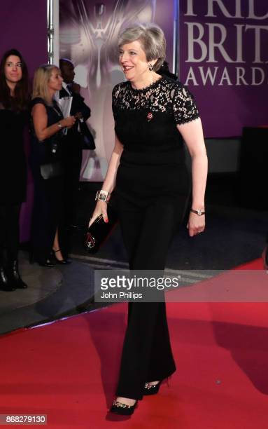 British Prime Minister Theresa May attends the Pride Of Britain Awards at Grosvenor House on October 30 2017 in London England