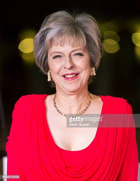 British Prime Minister Theresa May attends The Sun Military Awards at The Guildhall on December 14 2016 in London England