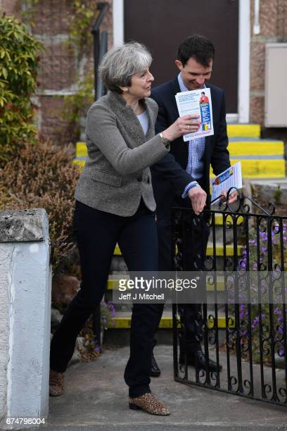 British Prime Minister Theresa May campaigns on the streets on April 29, 2017 in Banchory, Scotland. The Prime Minister is campaigning in Scotland...