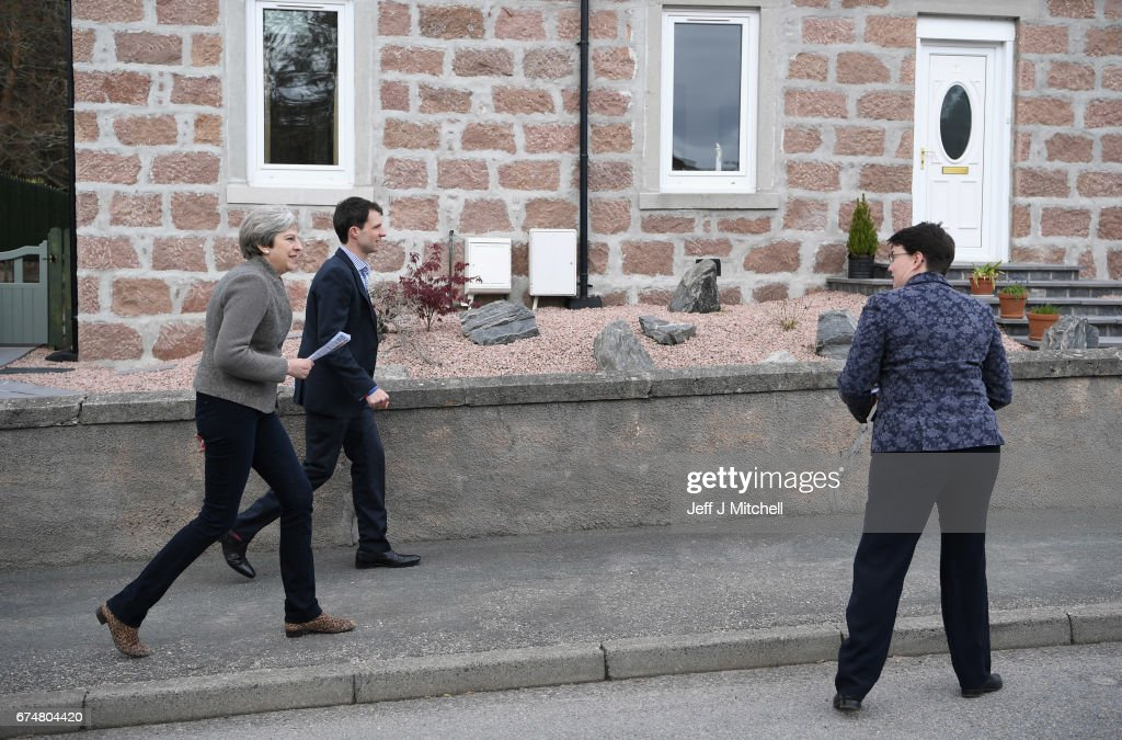 Theresa May Campaigns In Rural Aberdeenshire With Scottish Conservative Leader Ruth Davidson : News Photo
